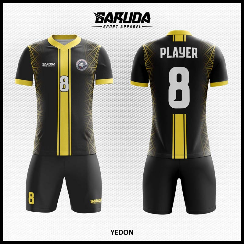 Desain Jersey Futsal Printing Yedon Warna Hitam Emas Yang Menawan
