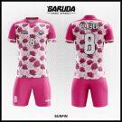 Desain Baju Futsal Bunpin Warna Pink Motif Bunga Cantik Banget