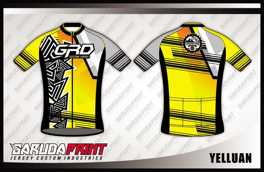 Buat Baju Sepeda Road Bike Warna Kuning Motif Etnic Modern