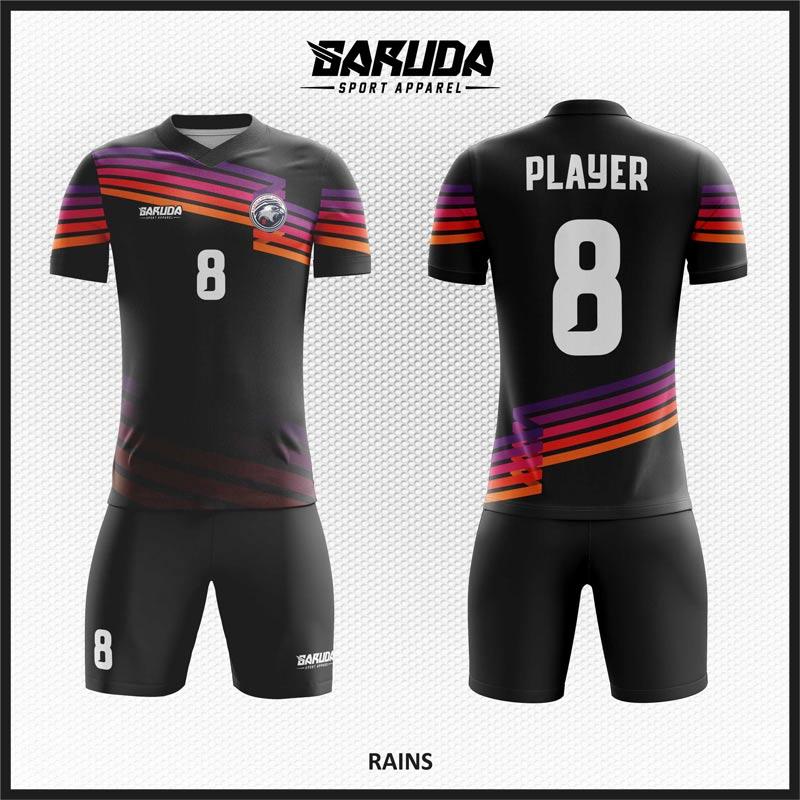 Desain Baju Bola Printing Rains Warna Hitam Yang Gagah