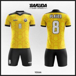 Desain Kostum Futsal Printing Yexaa Warna Kuning Emas Yang Trendy