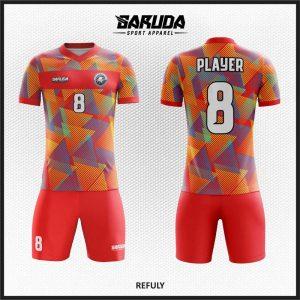 Desain Kaos Bola Futsal Printing Refuly Warna Merah Dinamis