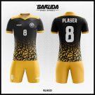 Desain Kaos Futsal Printing Blago Warna Hitam Kuning Istimewa