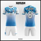 Desain Baju Futsal Blugle Warna Biru Putih Berkilau