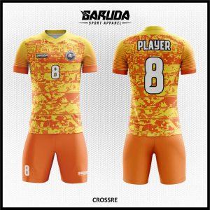 Desain Jersey Futsal Printing Crossre Warna Kuning Orange Sangat Unik