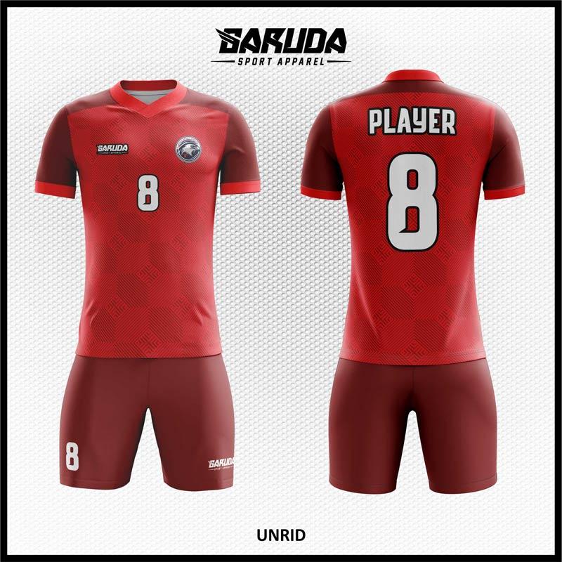 Desain Kaos Bola Futsal Unrid Warna Merah Tampil Lebih Elegan
