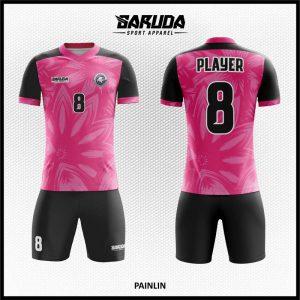 Desain Jersey Sepakbola Painlin Warna Pink Hitam Motif Bunga