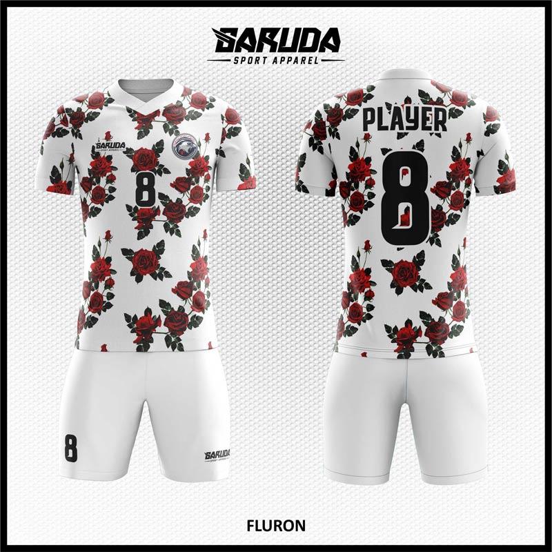 Desain Jersey Bola Futsal Fluron Motif Bunga Warna Putih Cemerlang