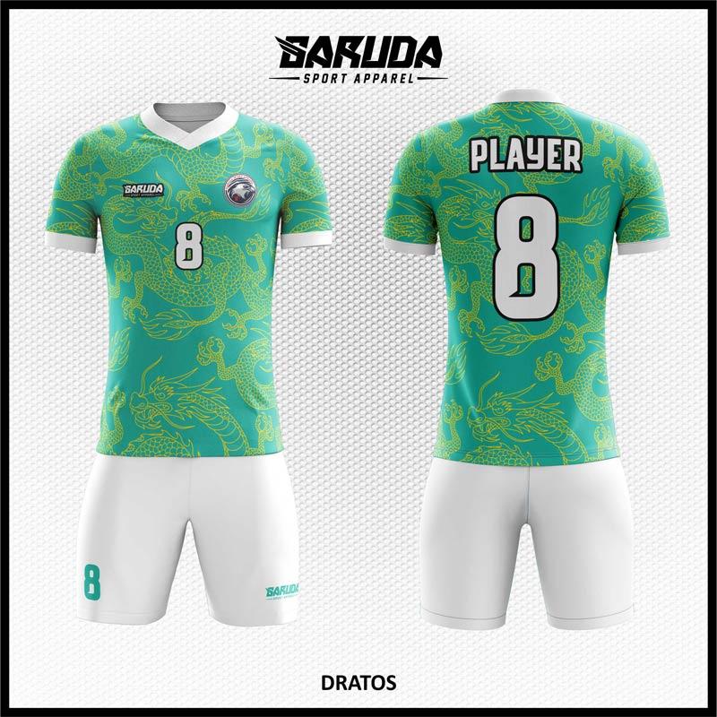 Desain Baju Futsal Printing Dratos Warna Hijau Tosca Motif Naga
