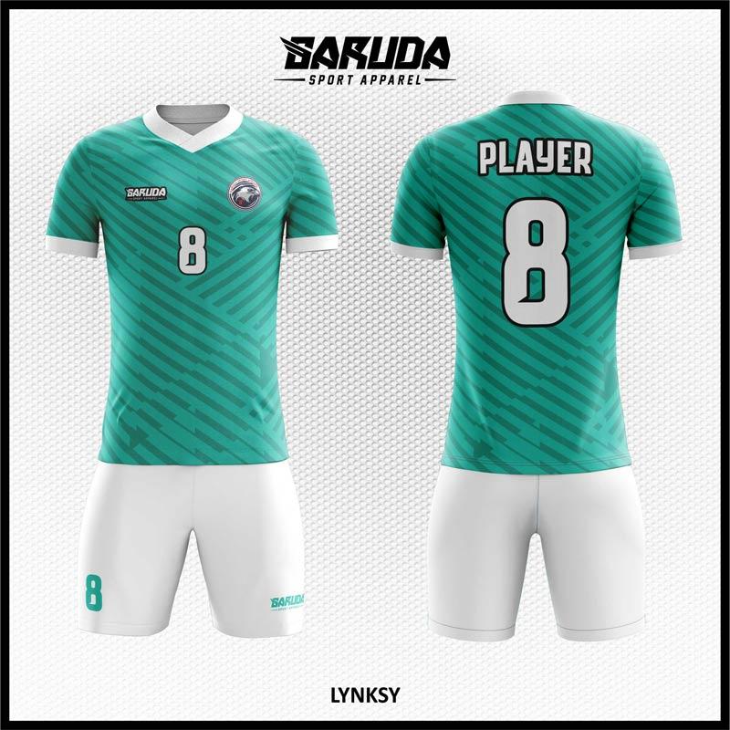 Desain Kaos Sepakbola Printing Lynksy Motif Diagonal Biru Tosca