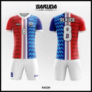 Desain Seragam Futsal Printing Raizin Merah Biru Putih Yang Dinamis