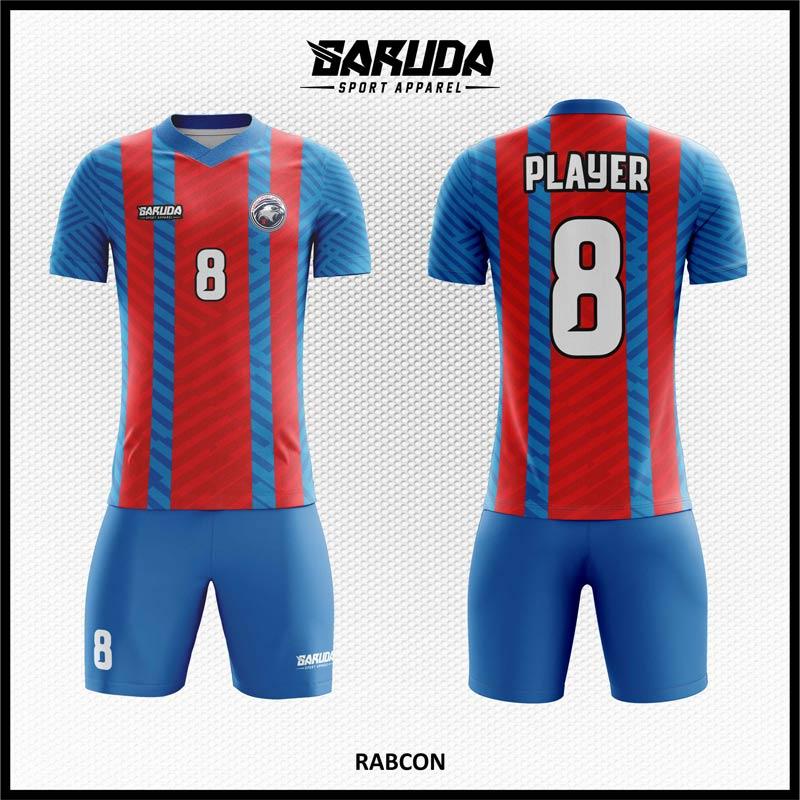 Desain Jersey Bola Futsal Printing Rabcon Warna Biru Merah Eksklusif