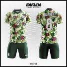 Desain Jersey Futsal Grefol Motif Bunga Gradasi Warna Hijau Yang Serasi