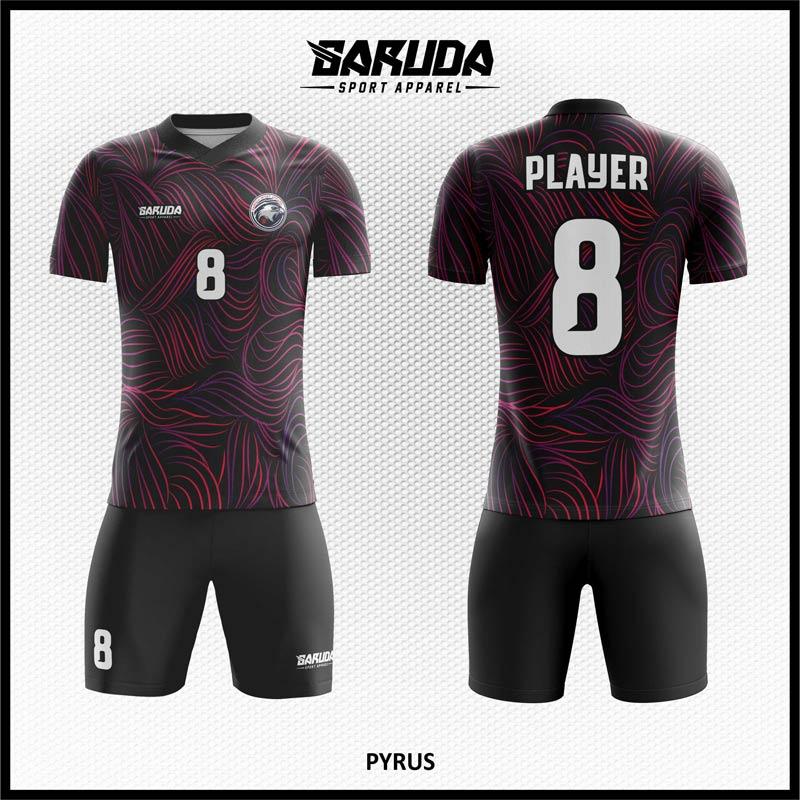 Desain Baju Futsal Full Print Pyrus Warna Hitam Ungu Motif Abstrak