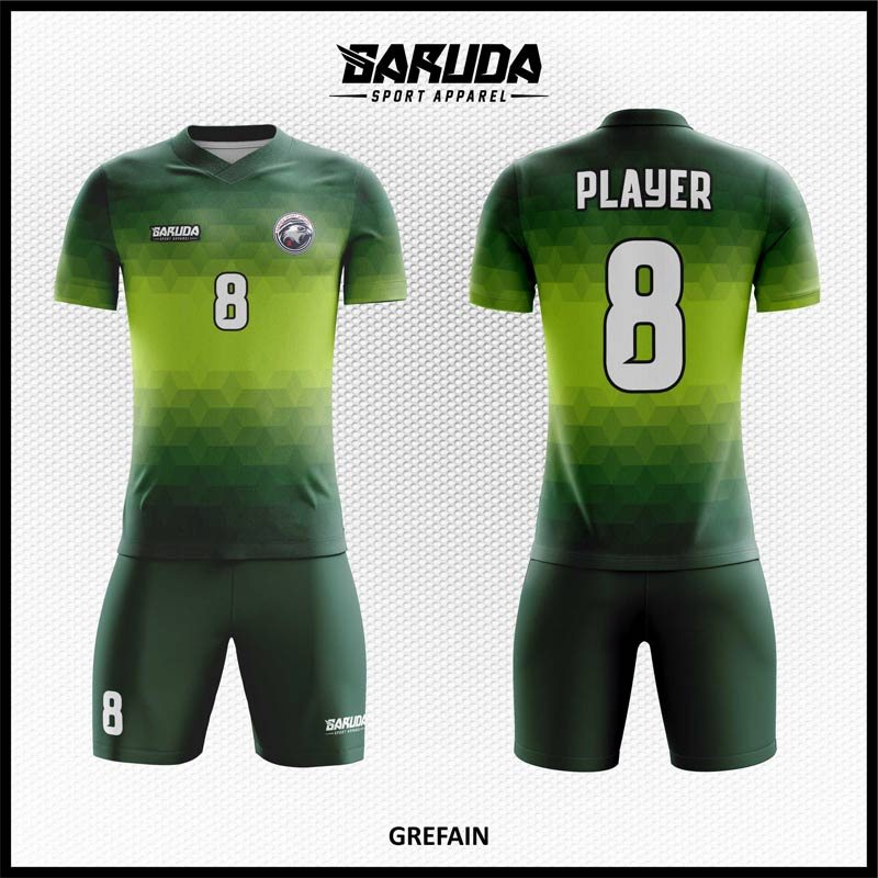 Desain Baju Futsal Full Print Grefain Warna Hijau Yang Memukau
