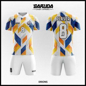 Desain Jersey Sepakbola Drions Warna Putih Biru Kuning Yang Begitu Dinamis