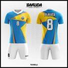 Desain Baju Bola Futsal Printing Yemblu Warna Biru Kuning Puih Motif Kekinian
