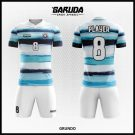 Desain Kostum Futsal Grundo Warna Putih Hitam Biru Horizontal