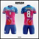 Desain Seragam Futsal Printing Clous Gradasi Warna Merah Biru