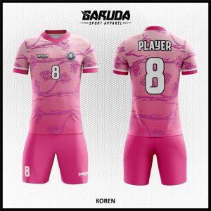 Desain Baju Futsal Printing Koren Motif Bunga Warna Pink