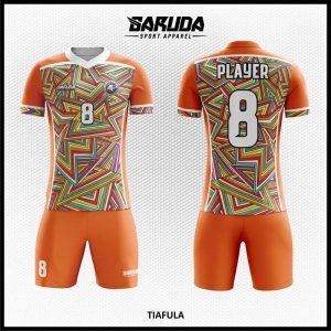 Desain Kostum Futsal Tiafula Warna Orange Motif Zig Zag