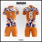 Desain Baju Futsal Printing Whiren Warna Orange Motif 3 Dimensi