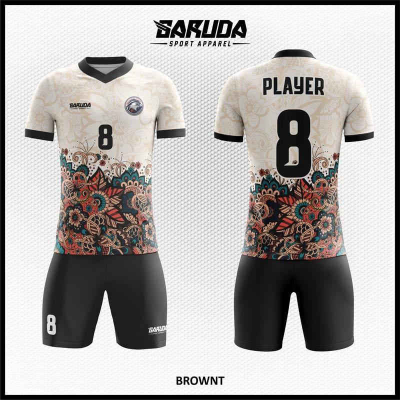 Desain Kostum Sepakbola Printing Brownt Warna Putih Hitam Motif Batik