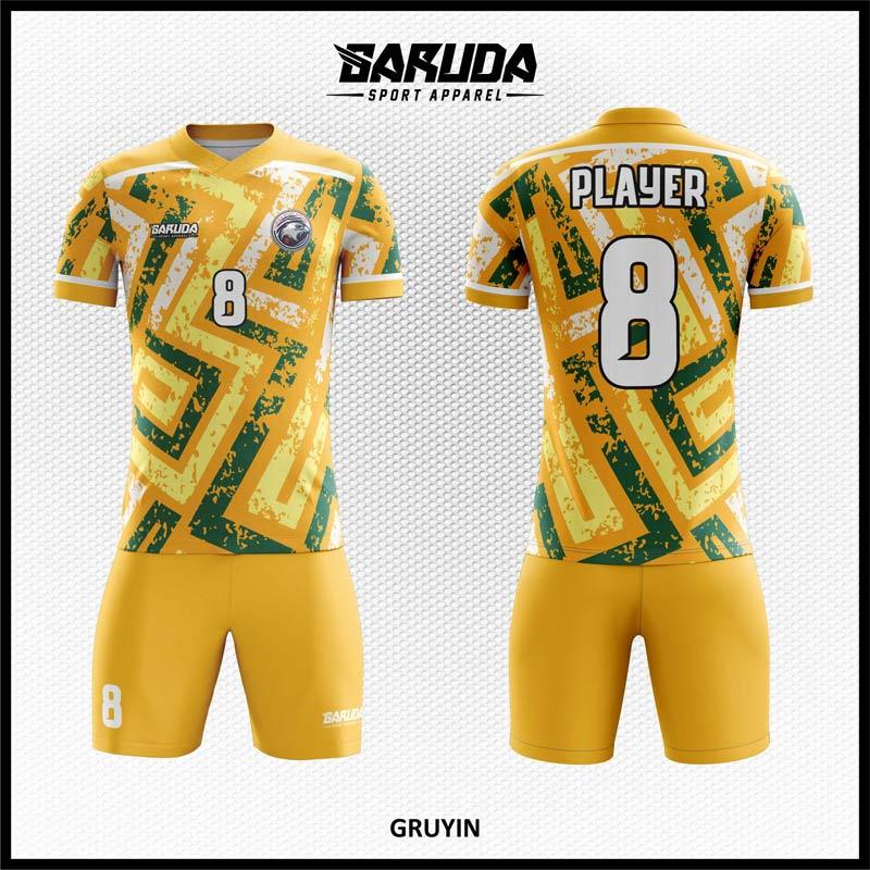 Desain Baju Bola Futsal Full Print Gruyin Warna Kuning Keemasan