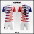 Desain Kaos Futsal Full Print Byredz Warna Putih Merah Biru