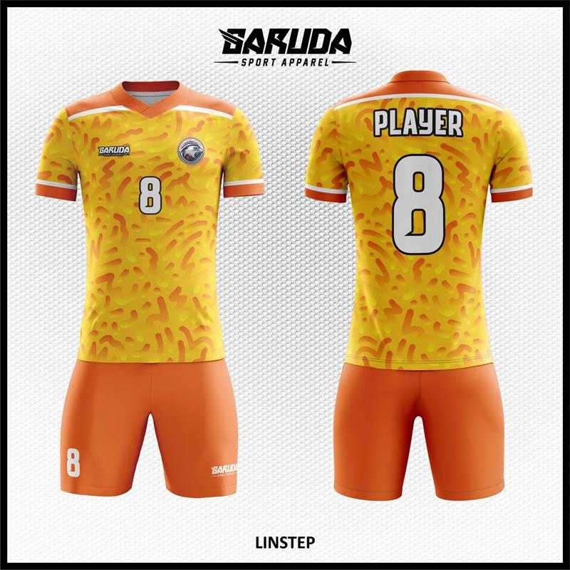 Desain Jersey Futsal Full Print Linstep Warna Orange Yang Trendy