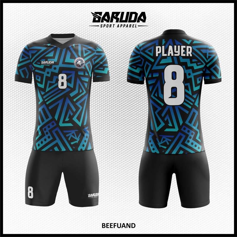 Desain Kaos Futsal Full Print Beefuand Biru Hitam Berornamen Keren