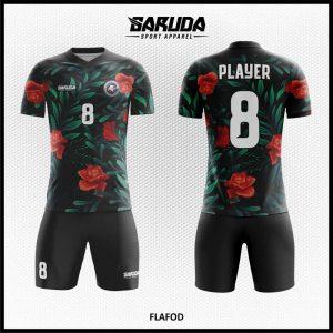 Desain Kaos Bola Futsal Printing Flafod Warna Hitam Motif Bunga