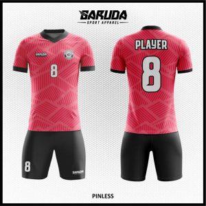 Desain Jersey Futsal Printing Pinless Warna Merah Hitam Terbaru