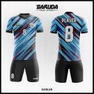 Desain Seragam Futsal Printing Sleblun Warna Biru Hitam Yang Elegan