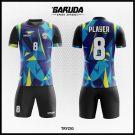 Desain Baju Futsal Printing Trizig Warna Biru Hitam Kuning Paling Keren
