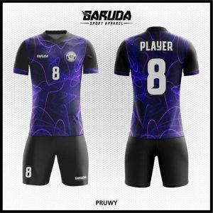 Desain Kostum Futsal Printing Pruwy Warna Hitam Menyala