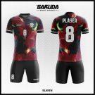Desain Kaos Futsal Printing Blaren Warna Coklat Hitam Motif Bulu
