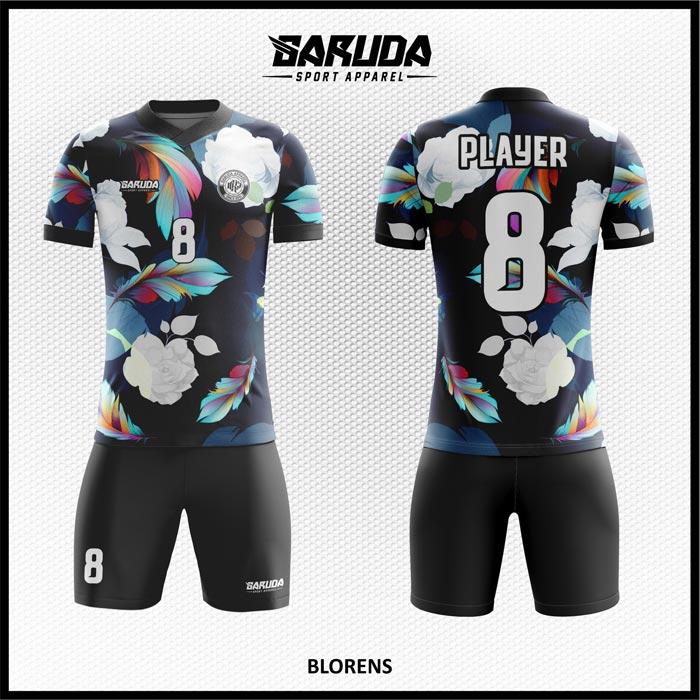 Desain Jersey Futsal Printing Blorens Motif Bunga Warna Hitam Menawan