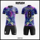 Desain Baju Futsal Printing Abspyur Gradasi Warna Ungu Motif Bintang