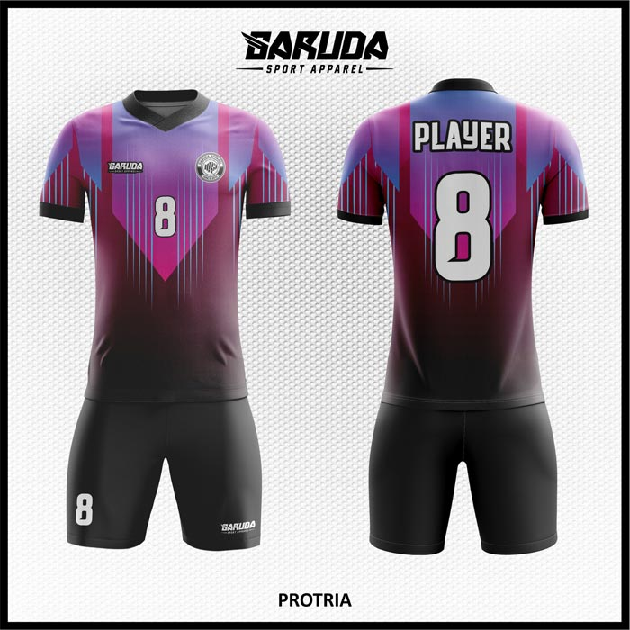Desain Kaos Futsal Printing Protia Warna Ungu Hitam Terkeren