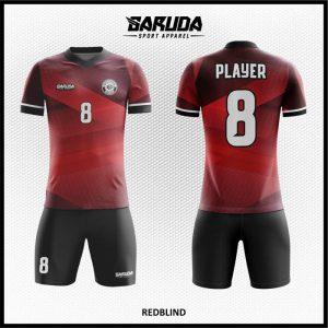 Desain Baju Futsal Printing Redblind Warna Merah Hitam Terbaru