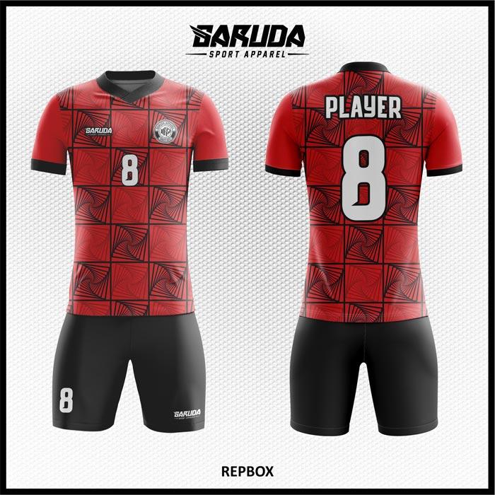 Desain Kostum Sepakbola Printing Repbox Motif Kotak-Kotak Warna Merah Hitam Istimewa