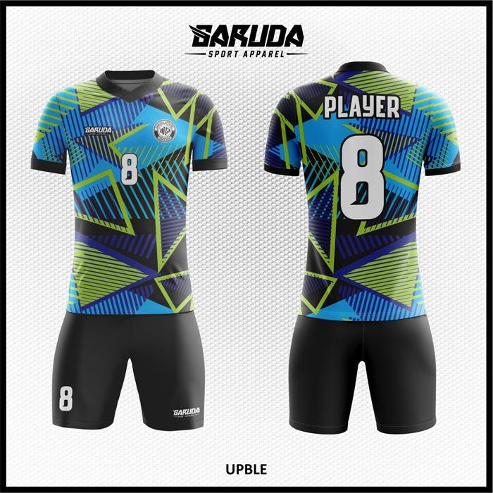 Desain Baju Bola Futsal Full Print Upble Motif Segitiga Modern