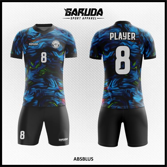 Desain Jersey Futsal Printing Absblus Warna Biru Hitam Bergelombang Paling Unik