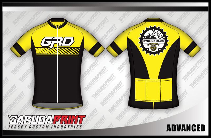 Desain Jersey Sepeda Road Bike Advanced Warna Kuning Hitam Berkelas