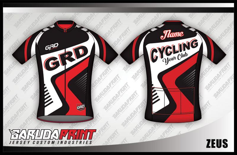 Desain Jersey Sepeda Gowes Printing Zeus Warna Hitam Putih Merah Bergelombang