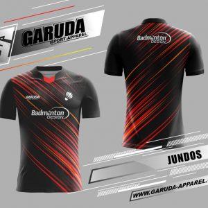 Desain Baju Badminton Printing Jundos Warna Hitam Menawan