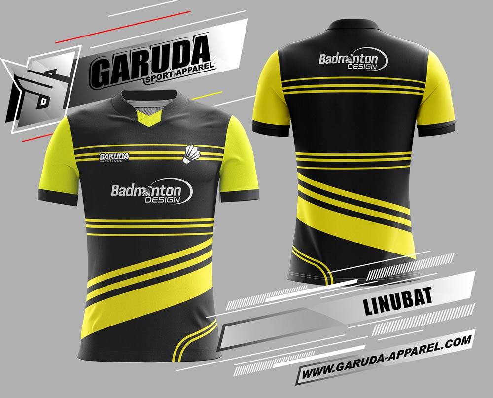 Desain Baju Badminton Printing Linubat Warna Hitam Kuning