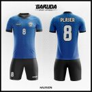 Desain Baju Futsal Full Print Halfsion Warna Biru Hitam Bergelombang