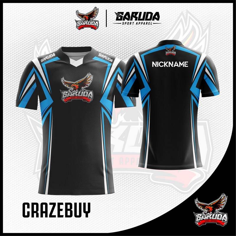Desain Baju Gaming Esport Crazebuy Warna Hitam Dinamis